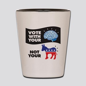 Vote with Your Brain Shot Glass